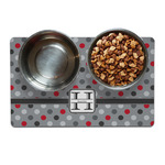 Red & Gray Polka Dots Pet Bowl Mat (Personalized)