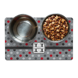 Red & Gray Polka Dots Pet Bowl Mat (Personalized)
