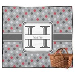 Red & Gray Polka Dots Outdoor Picnic Blanket (Personalized)