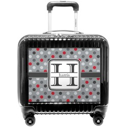 Red & Gray Polka Dots Pilot / Flight Suitcase (Personalized)