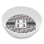 Red & Gray Polka Dots Melamine Bowl 8oz (Personalized)