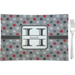 Red & Gray Polka Dots Glass Rectangular Appetizer / Dessert Plate - Single or Set (Personalized)
