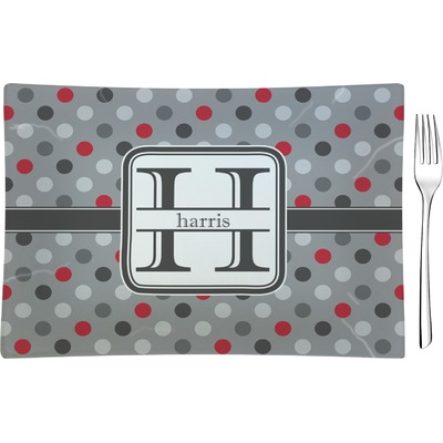 Red & Gray Polka Dots Glass Rectangular Appetizer / Dessert Plate (Personalized)