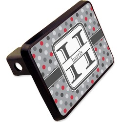 """Red & Gray Polka Dots Rectangular Trailer Hitch Cover - 2"""" (Personalized)"""