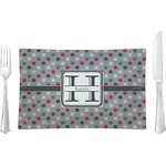 Red & Gray Polka Dots Glass Rectangular Lunch / Dinner Plate - Single or Set (Personalized)