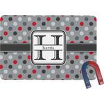 Red & Gray Polka Dots Rectangular Fridge Magnet (Personalized)