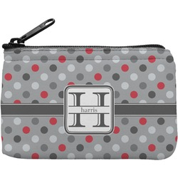 Red & Gray Polka Dots Rectangular Coin Purse (Personalized)