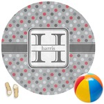 Red & Gray Polka Dots Round Beach Towel (Personalized)