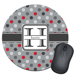 Red & Gray Polka Dots Round Mouse Pad (Personalized)