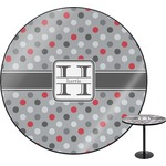 Red & Gray Polka Dots Round Table (Personalized)