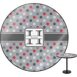 "Red & Gray Polka Dots Round Table - 30"" (Personalized)"