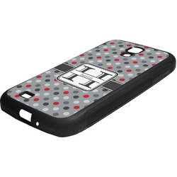 Red & Gray Polka Dots Rubber Samsung Galaxy 4 Phone Case (Personalized)