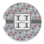Red & Gray Polka Dots Sandstone Car Coasters (Personalized)