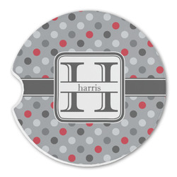 Red & Gray Polka Dots Sandstone Car Coaster - Single (Personalized)