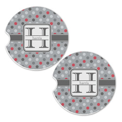Red & Gray Polka Dots Sandstone Car Coasters - Set of 2 (Personalized)