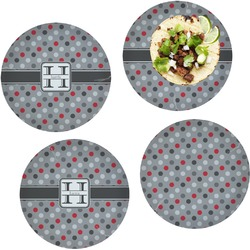 Red & Gray Polka Dots Set of 4 Lunch / Dinner Plates (Glass) (Personalized)