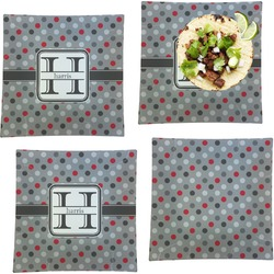 """Red & Gray Polka Dots Set of 4 Glass Square Lunch / Dinner Plate 9.5"""" (Personalized)"""