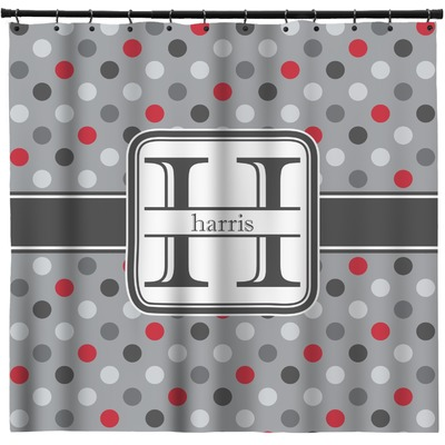 Red & Gray Polka Dots Shower Curtain (Personalized)