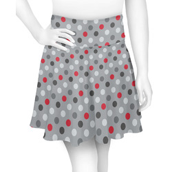 Red & Gray Polka Dots Skater Skirt (Personalized)