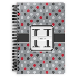 Red & Gray Polka Dots Spiral Bound Notebook (Personalized)