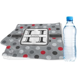 Red & Gray Polka Dots Sports Towel (Personalized)