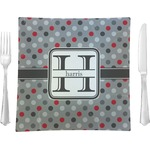 """Red & Gray Polka Dots Glass Square Lunch / Dinner Plate 9.5"""" - Single or Set of 4 (Personalized)"""