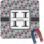 Red & Gray Polka Dots Square Fridge Magnet (Personalized)