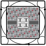 Red & Gray Polka Dots Square Trivet (Personalized)