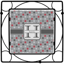 Red & Gray Polka Dots Trivet (Personalized)