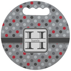 Red & Gray Polka Dots Stadium Cushion (Round) (Personalized)