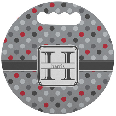 Red & Gray Polka Dots Stadium Cushion (Round) (Personalized)