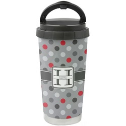 Red & Gray Polka Dots Stainless Steel Travel Mug (Personalized)