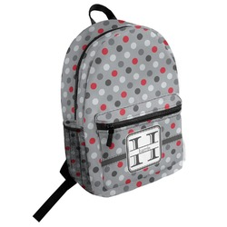 Red & Gray Polka Dots Student Backpack (Personalized)