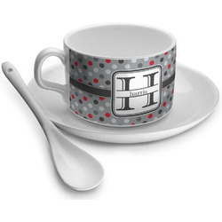 Red & Gray Polka Dots Tea Cups (Personalized)