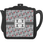 Red & Gray Polka Dots Teapot Trivet (Personalized)