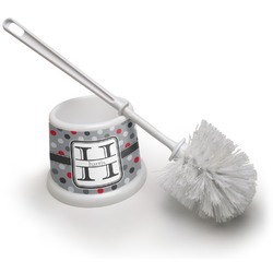 Red & Gray Polka Dots Toilet Brush (Personalized)