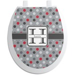Red & Gray Polka Dots Toilet Seat Decal (Personalized)