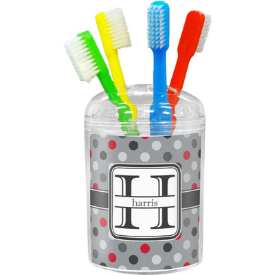 Red & Gray Polka Dots Toothbrush Holder (Personalized)