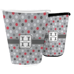 Red & Gray Polka Dots Waste Basket (Personalized)