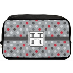 Red & Gray Polka Dots Toiletry Bag / Dopp Kit (Personalized)