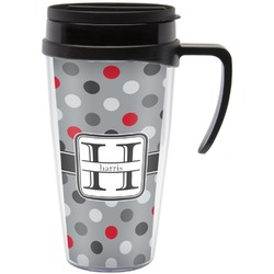 Red & Gray Polka Dots Travel Mug with Handle (Personalized)