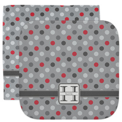 Red & Gray Polka Dots Facecloth / Wash Cloth (Personalized)