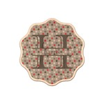 Red & Gray Polka Dots Genuine Maple or Cherry Wood Sticker (Personalized)