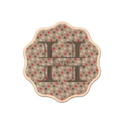 Red & Gray Polka Dots Genuine Wood Sticker (Personalized)