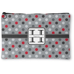 Red & Gray Polka Dots Zipper Pouch (Personalized)