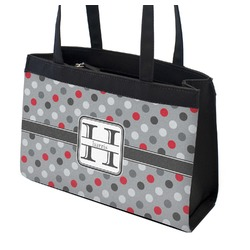 Red & Gray Polka Dots Zippered Everyday Tote (Personalized)