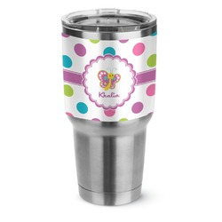 Polka Dot Butterfly Stainless Steel Tumbler - 30 oz (Personalized)