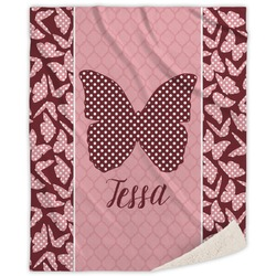 Polka Dot Butterfly Sherpa Throw Blanket (Personalized)