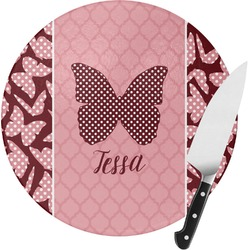 Polka Dot Butterfly Round Glass Cutting Board - Small (Personalized)