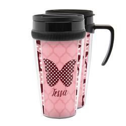Polka Dot Butterfly Acrylic Travel Mugs (Personalized)
